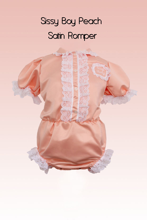 sissy boy peach satin romper