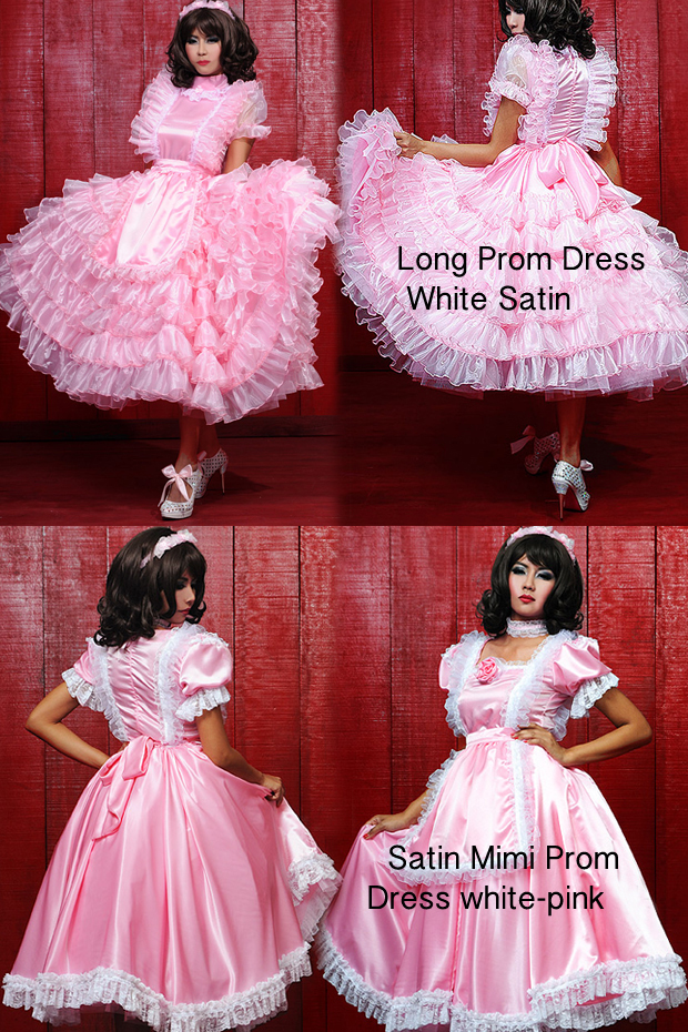 2 PROM long satin pink DRESSES-1