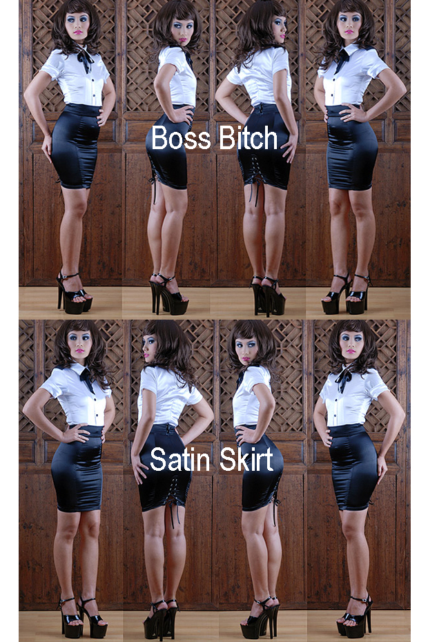 boss bitch satin skirt for crossdressing site