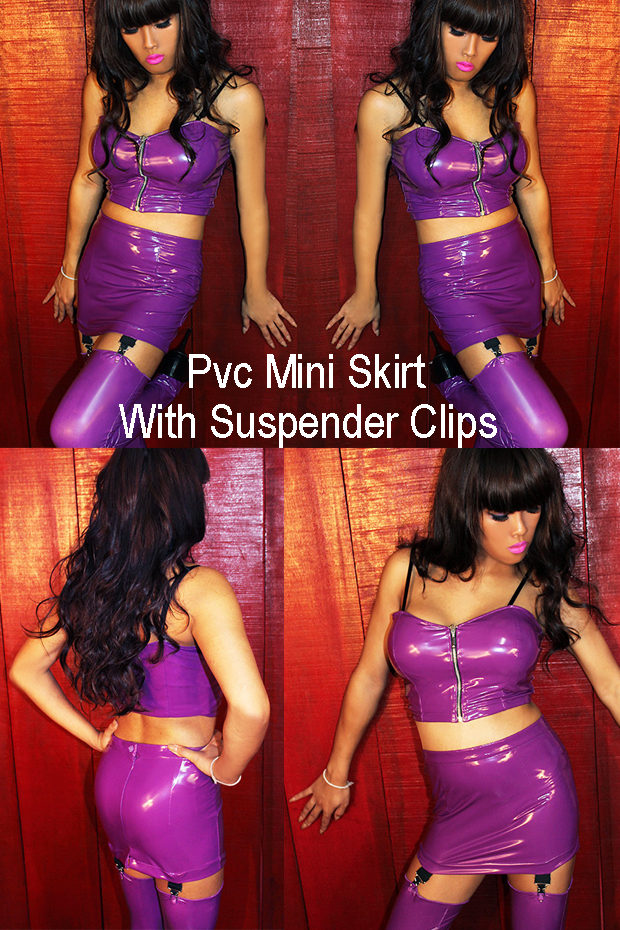 pvc mini skirt with suspender clips for crossdressing room site