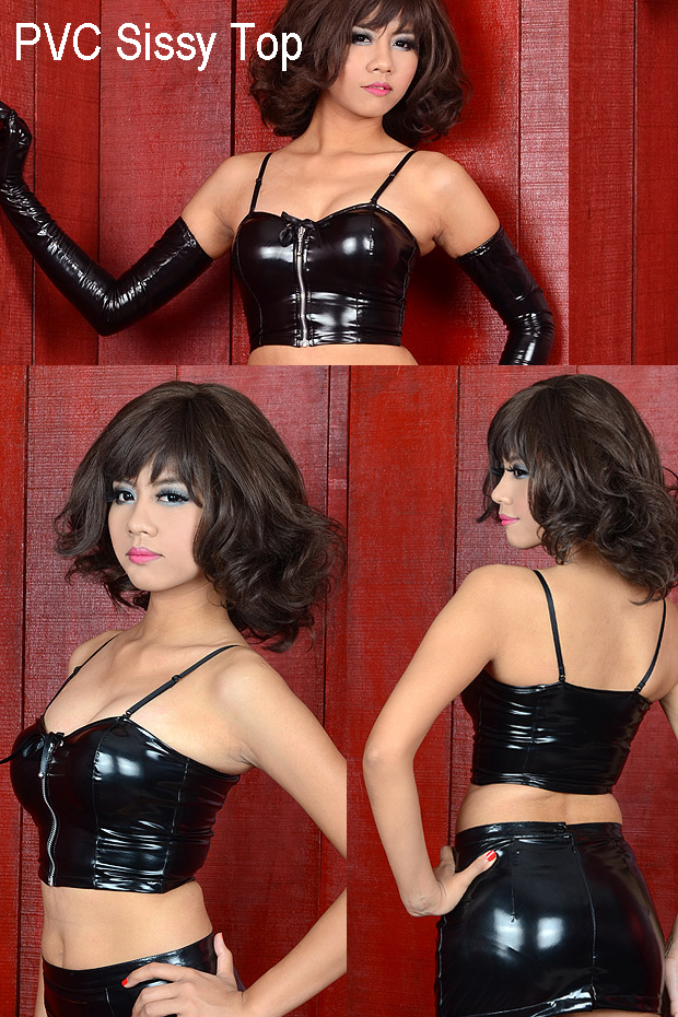 pvc sissy top for the crossdressing room site