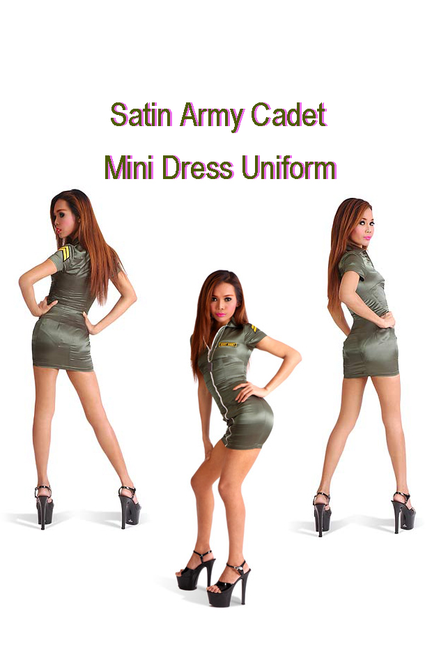satin army mini dress uniform for the crossdressing site