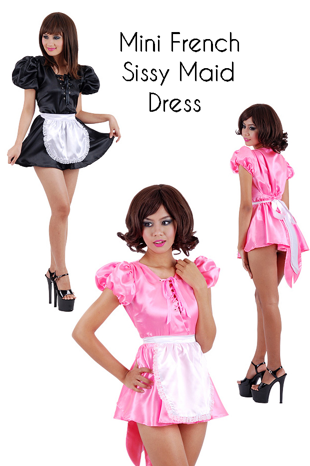 satin maid mini dress for crossdressing room  copy