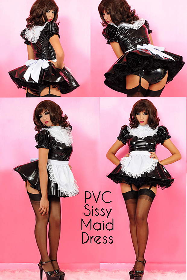 sissy maid pvc for crossdressing room